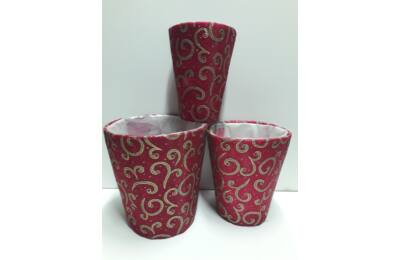 Organzás kaspó szett - piros poharak
