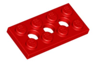 LEGO technic, alaplap 2 x 4, 3 lyukkal