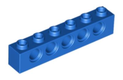 LEGO technic, kocka 1 x 6, 5 lyukkal