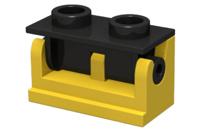 LEGO zsanér 1 x 2 alap és fekete felsőrész (komplett)