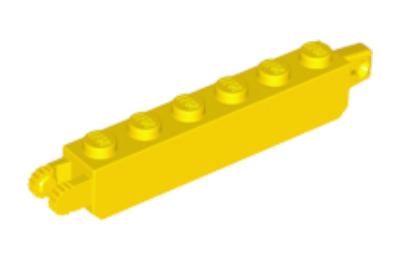 LEGO zsanér kocka, 1 x 6, 1 és 2 függőleges karral a két végén