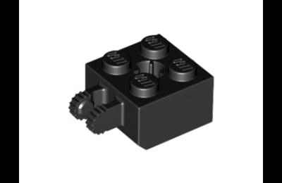 LEGO zsanér kocka, 2 x 2, 2 függőleges karral az oldalán és tengelyfurattal