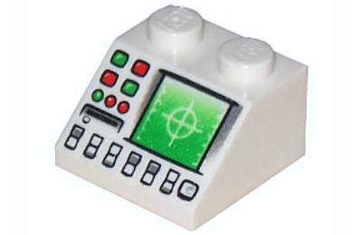LEGO lejtő 2 x 2, dekorált, radar és műszerfal mintával