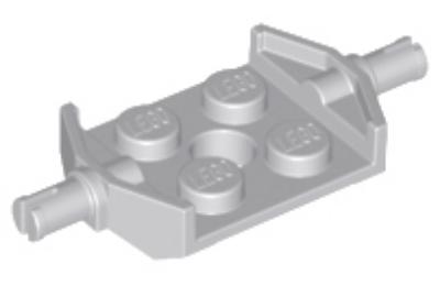 LEGO alaplap módosított, 2 x 2, széles keréktartó csatlakozóval és lyukkal