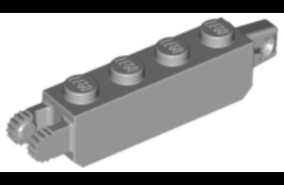 LEGO zsanér kocka, 1 x 4, 1 és 2 függőleges karral a két végén