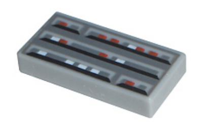 LEGO csempe 1 X 2, dekorált, SW számítógép