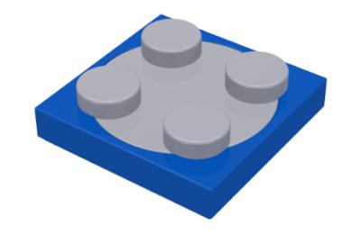 LEGO forgó alap, kerek, 2 x 2, világos kékes szürke felső résszel, komplett