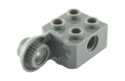 LEGO technic, kocka, módosított, 2 x 2, csatlakozó lyukkal és forgó csatlakozóval (függőleges)