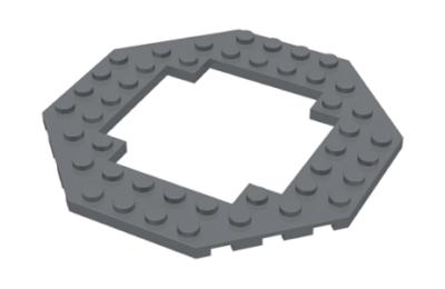 LEGO alaplap, módosított, 10 x 10, nyolcszögletű, közepén kivágással