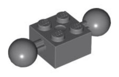 LEGO technic, kocka, módosított, 2 x 2, 2 gömbcsuklóval