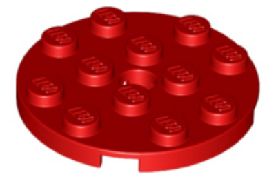 LEGO alaplap, kerek 4 x 4, lyukkal a közepén