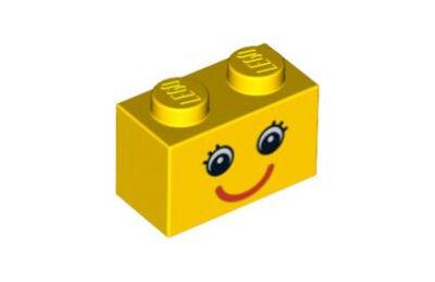 LEGO kocka 1 x 2, dekorált, szem és piros mosoly mintával