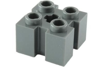 LEGO kocka, módosított, 2 x 2, 4 oldalán bevágással, tetején x lyukkal