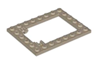 LEGO alaplap, módosított, 6 x 8, csapóajtó keret