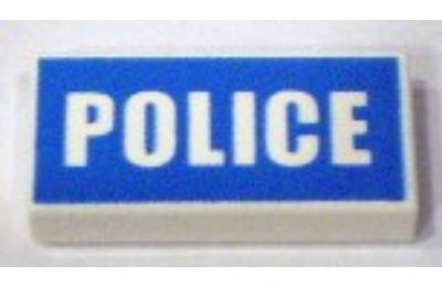 LEGO csempe 1 X 2, dekorált, POLICE felírat mintával