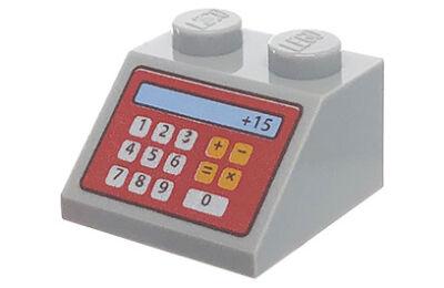 LEGO lejtő 2 x 2, dekorált, pénztárgép mintával 2