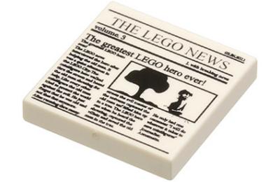 LEGO csempe 2 x 2, dekorált, újság mintával