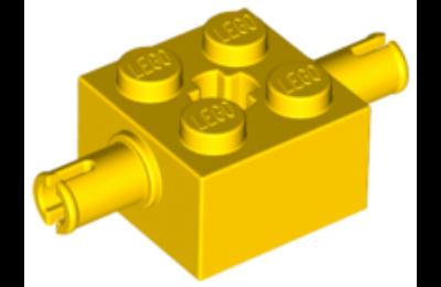 LEGO kocka módosított, 2 x 2, 2 keréktartó csatlakozóval