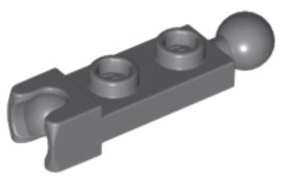 LEGO alaplap, módosított, 1 x 2, csatlakozó gömbbel az egyik, íves csatlakozóval a másik végén