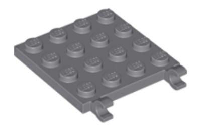 LEGO alaplap, módosított, 4 x 4, oldalán 2 csatlakozóval