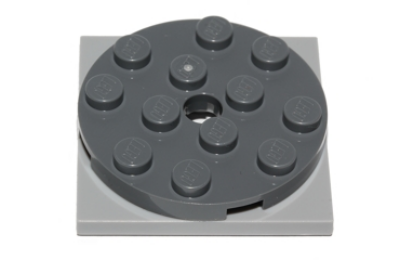 LEGO forgó alap, kerek, 4 x 4 x 2/3, világos kékes szürke alapon, komplett