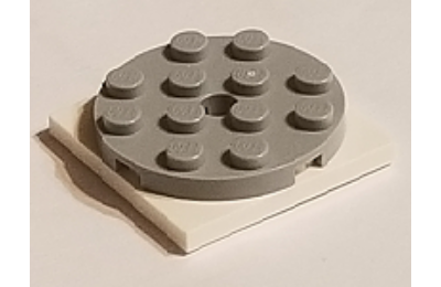 LEGO forgó alap, kerek, 4 x 4 x 2/3, fehér alapon, komplett
