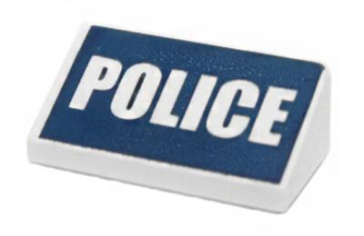 LEGO lejtő 1 x 2 x 2/3, dekorált, POLICE felírat mintával