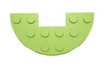 LEGO alaplap, félkör, 3 x 6, 1 x 2-es kivágással