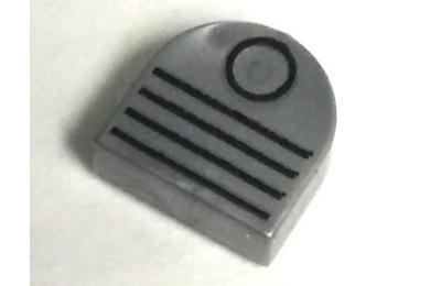 LEGO csempe kerek, félkör, 1 x 1, dekorált, szellőző mintával