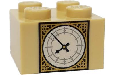 LEGO kocka 2 x 2, dekorált, Big Ben óra mintával