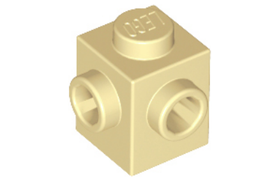 LEGO kocka, módosított, 1 x 1, 2 egymás melletti oldalán csatlakozókkal