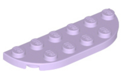 LEGO alaplap, kerek sarok 2 x 6, dupla