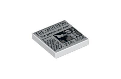 LEGO csempe 2 x 2, dekorált, újság mintával 2