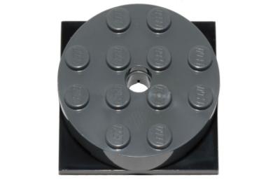 LEGO forgó alap, kerek, 4 x 4 x 1 1/3, fekete alapon, komplett