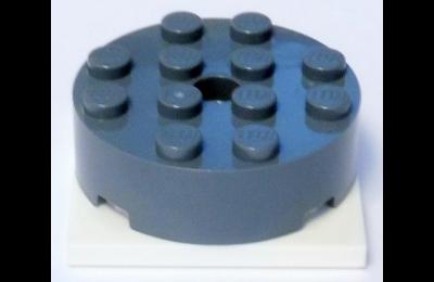 LEGO forgó alap, kerek, 4 x 4 x 1 1/3, fehér alapon, komplett